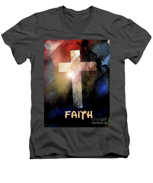 Biblical-faith Men's V-Neck T-Shirt by Terry Banderas
