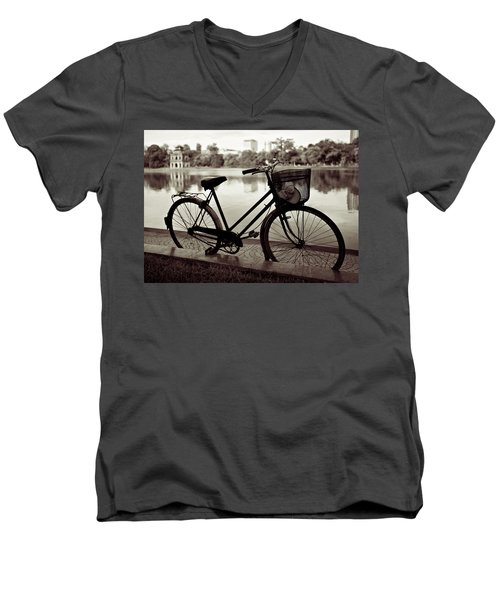 Bicycle By The Lake Men's V-Neck T-Shirt
