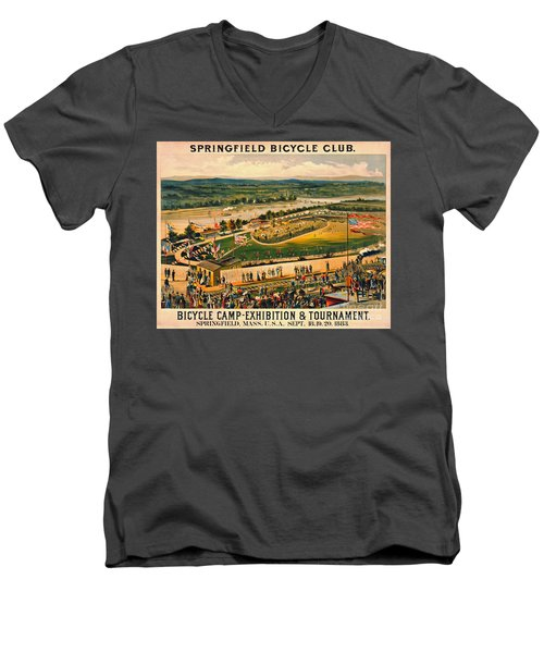 Men's V-Neck T-Shirt featuring the photograph Bicycle Camp 1883 by Padre Art