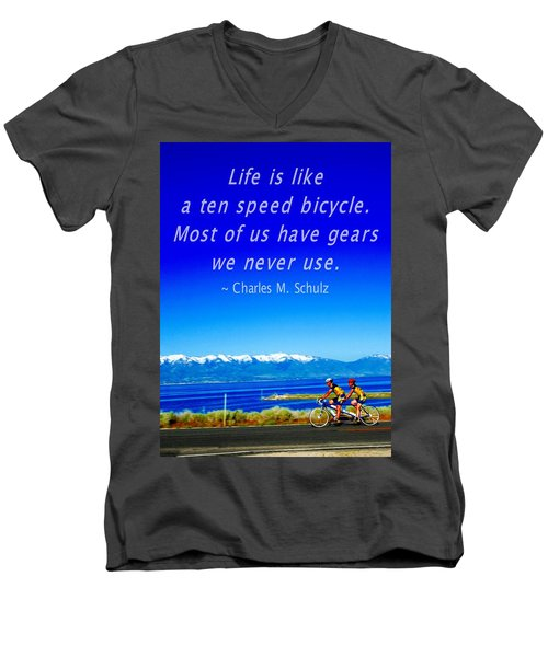 Bicycle Charles M Schulz Quote Men's V-Neck T-Shirt