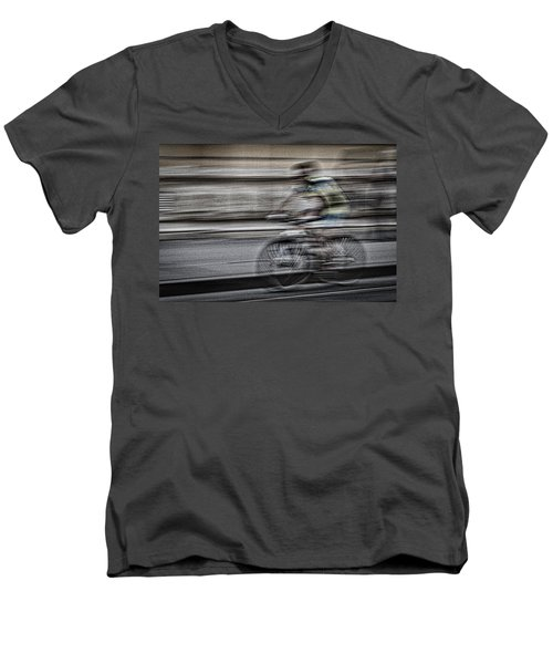 Bicycle Rider Abstract Men's V-Neck T-Shirt