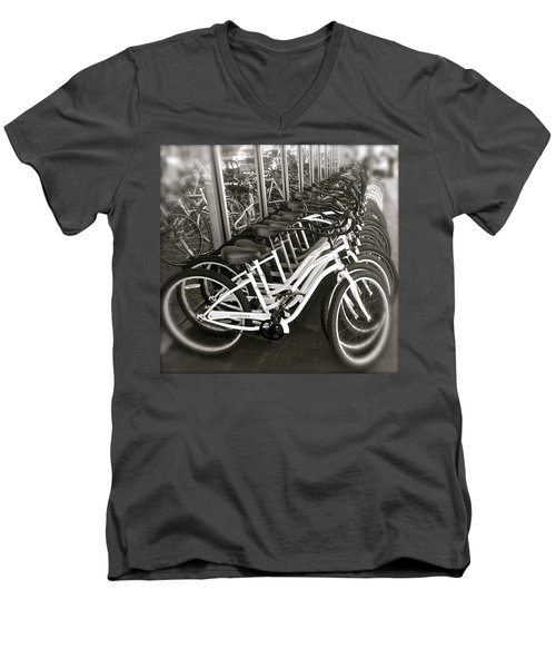 Bicycles In Belmont Shore Men's V-Neck T-Shirt