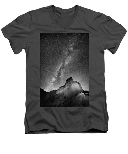 Men's V-Neck T-Shirt featuring the photograph Big And Bright In Black And White by Stephen Stookey
