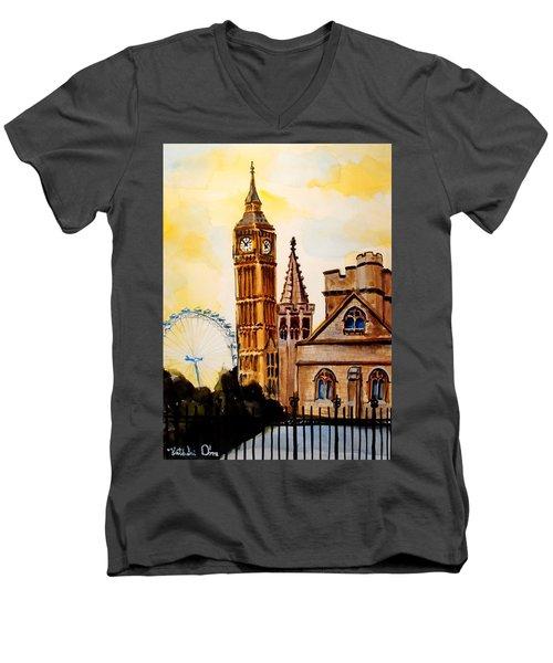 Big Ben And London Eye - Art By Dora Hathazi Mendes Men's V-Neck T-Shirt by Dora Hathazi Mendes
