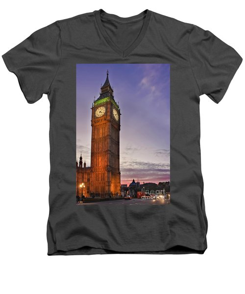 Men's V-Neck T-Shirt featuring the photograph Big Ben Twilight In London by Terri Waters