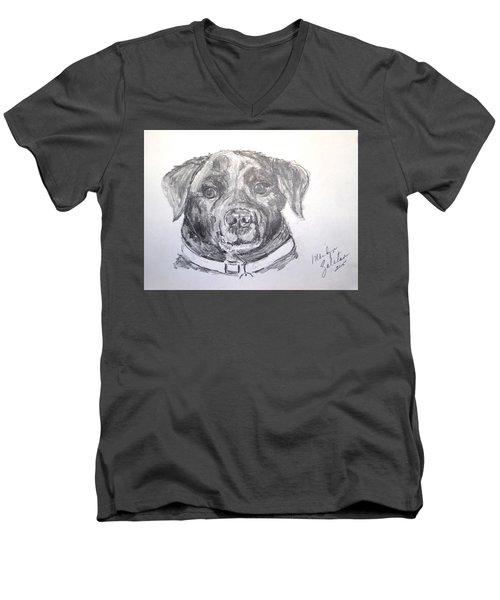 Big Black Dog Men's V-Neck T-Shirt by Marilyn Zalatan