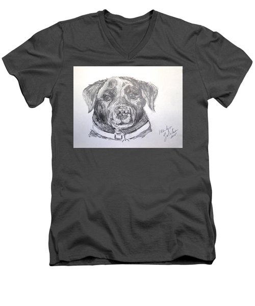 Big Black Dog Men's V-Neck T-Shirt