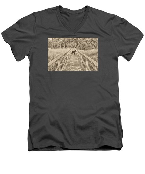 Men's V-Neck T-Shirt featuring the photograph Big Dog by Margaret Palmer