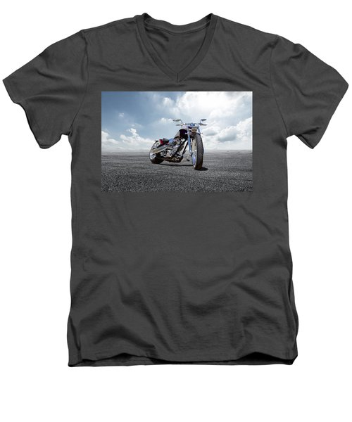 Men's V-Neck T-Shirt featuring the photograph Big Dog Pitbull by Peter Chilelli
