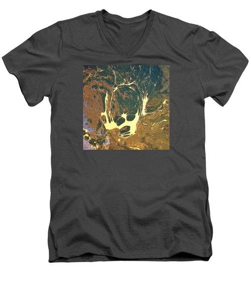 Big Headed Side Rocket Men's V-Neck T-Shirt by Gyula Julian Lovas