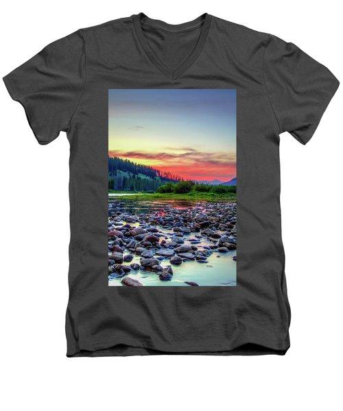 Big Hole River Sunset Men's V-Neck T-Shirt