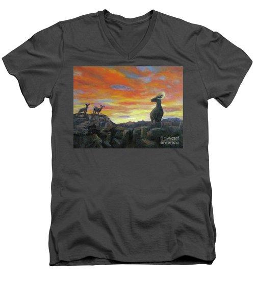 Big Horn Sheep At Sunset Men's V-Neck T-Shirt