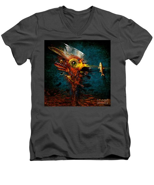 Men's V-Neck T-Shirt featuring the painting Big Hunter by Alexa Szlavics
