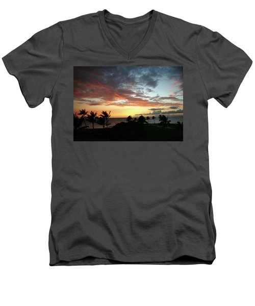 Men's V-Neck T-Shirt featuring the photograph Big Island Sunset #2 by Anthony Jones