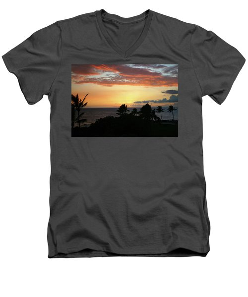 Men's V-Neck T-Shirt featuring the photograph Big Island Sunset by Anthony Jones