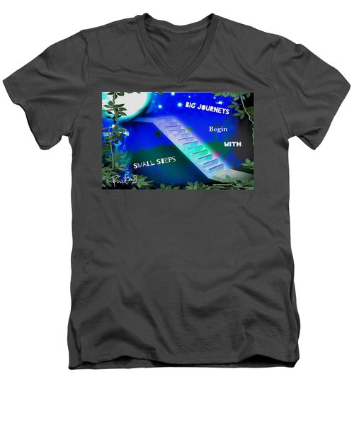 Men's V-Neck T-Shirt featuring the digital art Big Journeys......small Steps by Diana Riukas