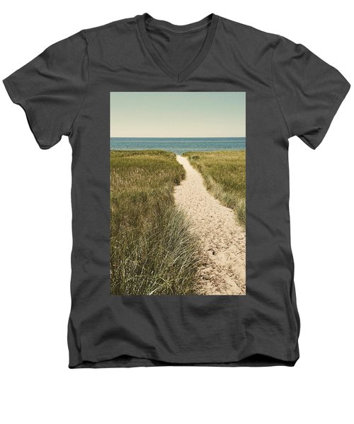 Men's V-Neck T-Shirt featuring the photograph Big Lake Beach Path by Michelle Calkins