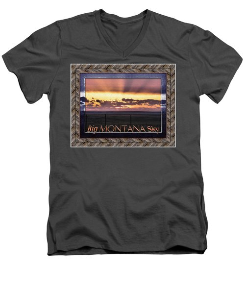 Men's V-Neck T-Shirt featuring the photograph Big Montana Sky by Susan Kinney