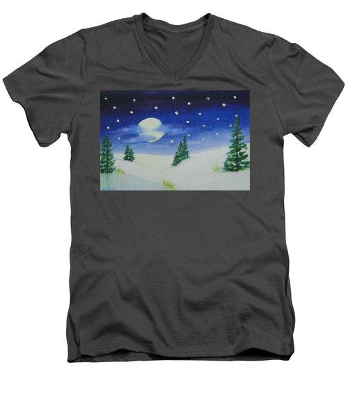 Big Moon Christmas Men's V-Neck T-Shirt