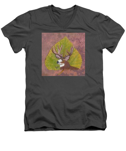 Big Mule Deer Buck Men's V-Neck T-Shirt