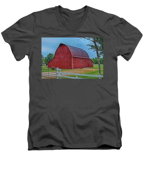 Men's V-Neck T-Shirt featuring the photograph Big Red Barn At Cross Village by Bill Gallagher