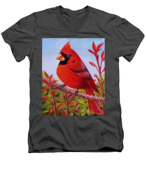 Men's V-Neck T-Shirt featuring the painting Big Red by Gene Gregory