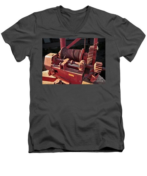 Men's V-Neck T-Shirt featuring the photograph Big Red Winch by Stephen Mitchell
