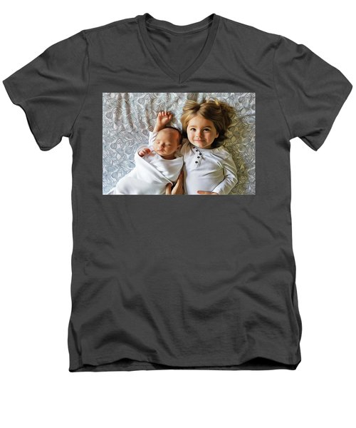 Men's V-Neck T-Shirt featuring the painting Big Sister by Harry Warrick