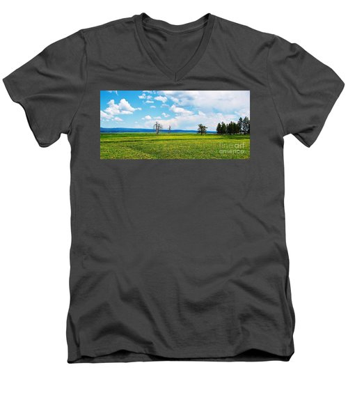 Big Summit Prairie In Bloom Men's V-Neck T-Shirt by Michele Penner