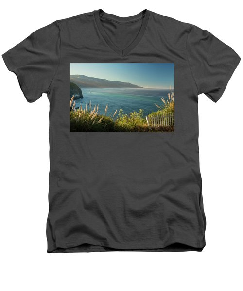 Men's V-Neck T-Shirt featuring the photograph Big Sur At Lucia, Ca by Dana Sohr