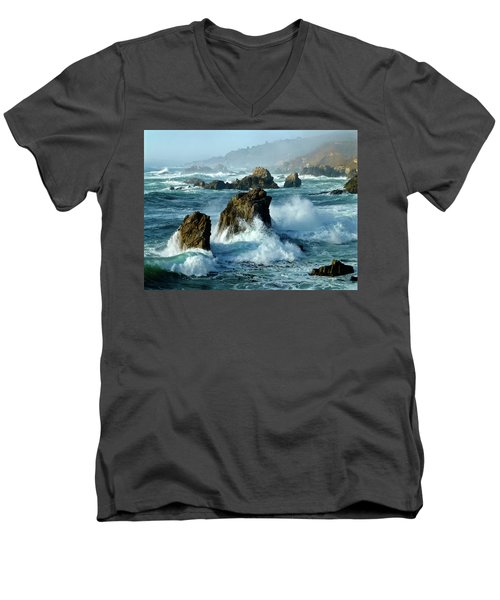 Big Sur Winter Wave Action Men's V-Neck T-Shirt by Amelia Racca
