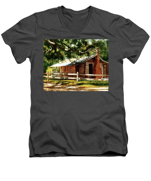 Big Thicket Information Center_the Staley Cabin Men's V-Neck T-Shirt