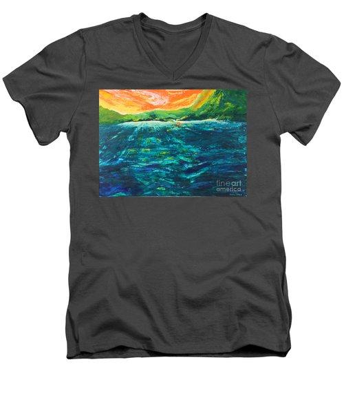 Big Tropical Wave Men's V-Neck T-Shirt