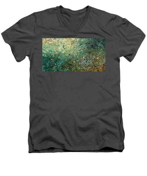 Men's V-Neck T-Shirt featuring the painting Big Universe - Abstract Art by Carmen Guedez