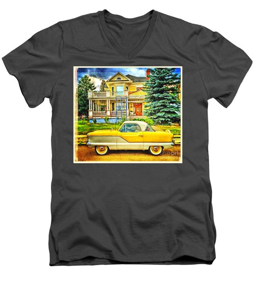 Men's V-Neck T-Shirt featuring the photograph Big Yellow Metropolis by Craig J Satterlee