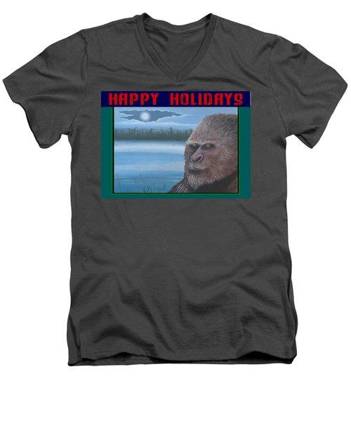 Bigfoot Happy Holidays Men's V-Neck T-Shirt by Stuart Swartz