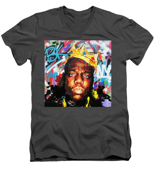 Men's V-Neck T-Shirt featuring the painting Biggy Smalls IIi by Richard Day