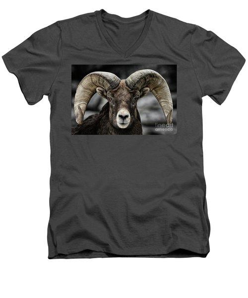 Bighorn Ram Men's V-Neck T-Shirt by Brad Allen Fine Art