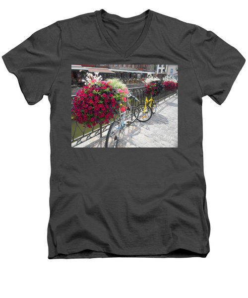 Men's V-Neck T-Shirt featuring the photograph Bike And Flowers by Therese Alcorn
