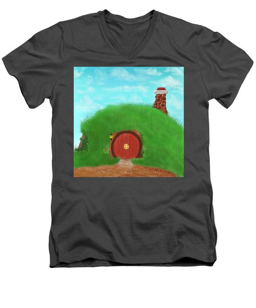 Bilbo's Home In The  Shire Men's V-Neck T-Shirt by Kevin Caudill
