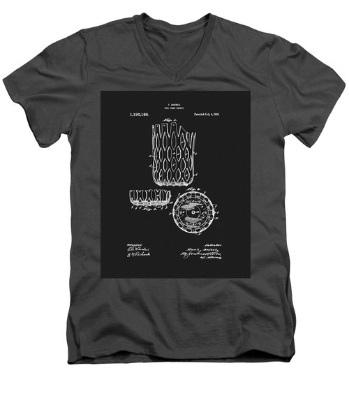 Men's V-Neck T-Shirt featuring the mixed media Billiards Table Pocket Patent by Dan Sproul