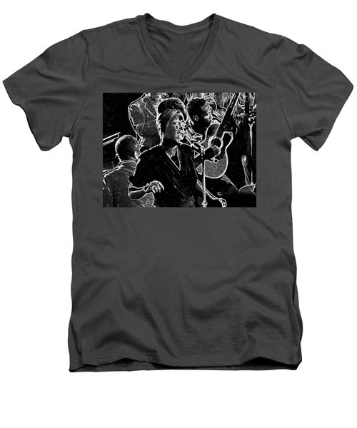 Men's V-Neck T-Shirt featuring the mixed media Billie Holiday by Charles Shoup
