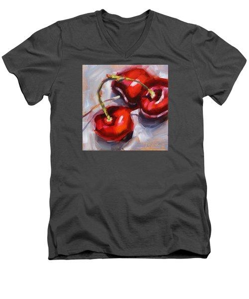 Bing Cherries Men's V-Neck T-Shirt by Tracy Male