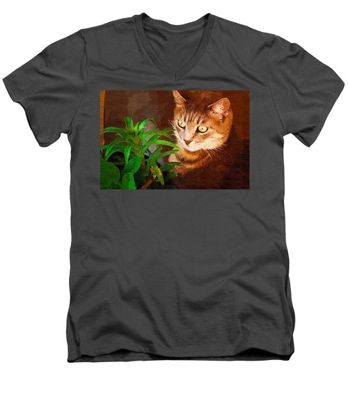 Men's V-Neck T-Shirt featuring the photograph Bink by Donna Bentley