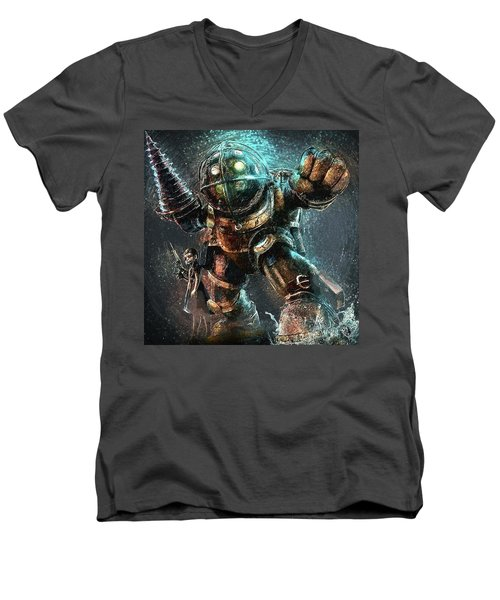 Men's V-Neck T-Shirt featuring the digital art Bioshock by Taylan Apukovska