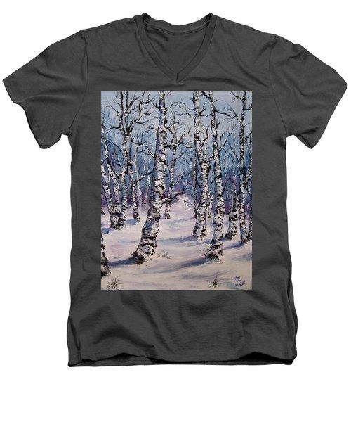 Birch Forest  Men's V-Neck T-Shirt by Megan Walsh