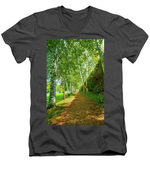 Men's V-Neck T-Shirt featuring the photograph Birch Gauntlet by Greg Fortier