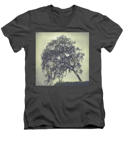 Men's V-Neck T-Shirt featuring the photograph Birch In The Mist by Ari Salmela