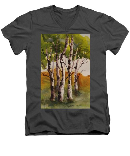 Men's V-Neck T-Shirt featuring the painting Birch by Marilyn Jacobson