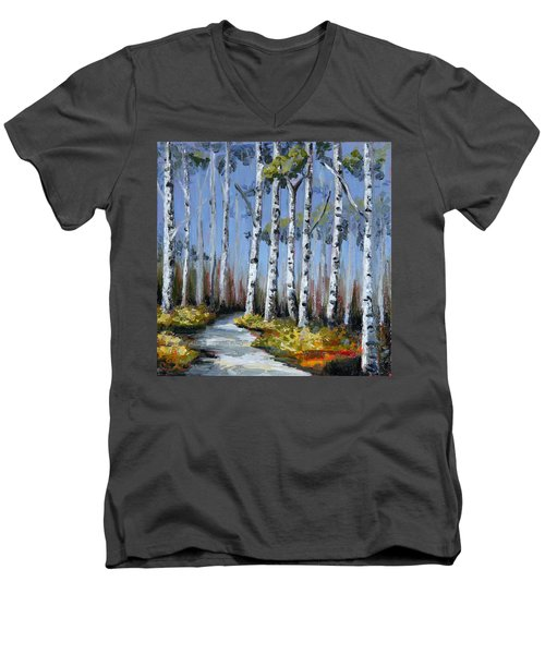 Birch Tree Path Men's V-Neck T-Shirt